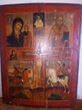 Icoana veche inceput secol 19 pictata pe lemn  in 4registre  38/29
