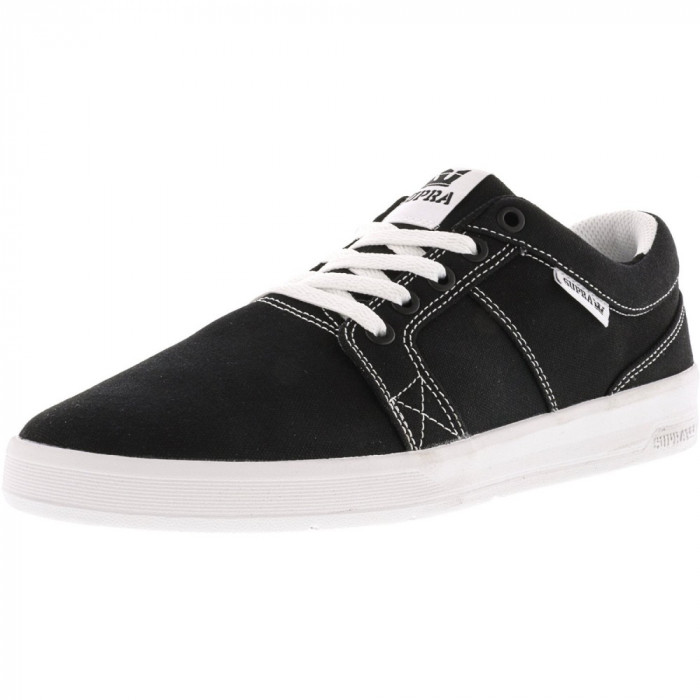 Supra barbati Ineto Black Canvas / White Stitching Ankle-High Fashion Sneaker foto mare
