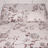 Lenjerie de pat pentru 2 persoane BonDia, Model Thea, 100% bumbac, 4 piese
