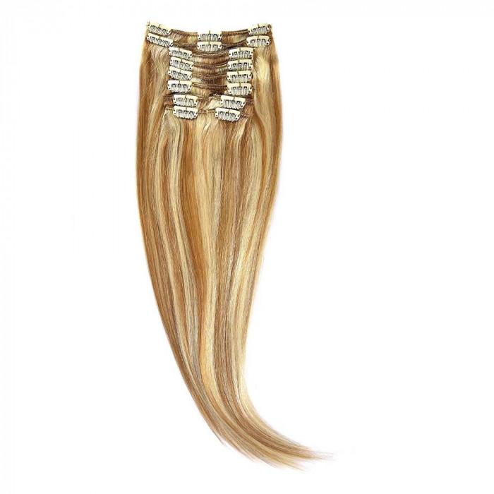 Clip-On Par Natural 50cm 100gr Blond Miere Suvitat/Blond Deschis #27/60 foto mare