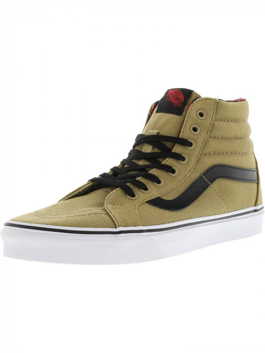 Vans Sk8-Hi Reissue Twill And Gingham Cornstalk / Black Ankle-High Canvas Skateboarding Shoe foto mare