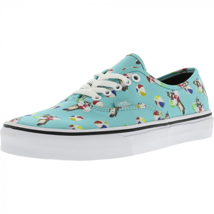 Vans Authentic Pool Vibes Aqua Sea / True White Ankle-High Canvas Skateboarding Shoe foto mare