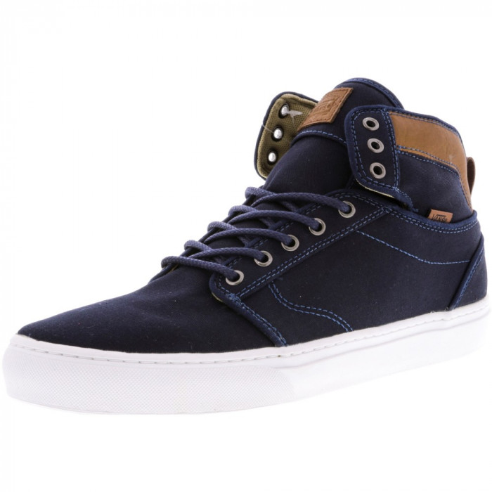 Vans Alomar + Textile And Leather Dress Blue / White High-Top Fabric Skateboarding Shoe foto mare