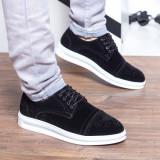 Pantofi barbati Hooper negri catifea casual
