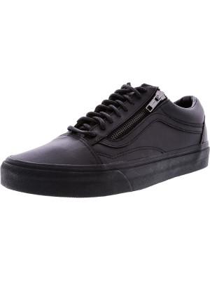 Vans Old Skool Zip Gunmetal All Over Black Ankle-High Leather Skateboarding Shoe foto