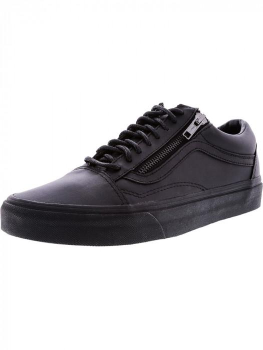 Vans Old Skool Zip Gunmetal All Over Black Ankle-High Leather Skateboarding Shoe