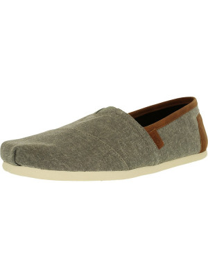 Toms barbati Classic Canvas Frost Grey Chambray/Synthetic Leather Ankle-High Flat Shoe foto