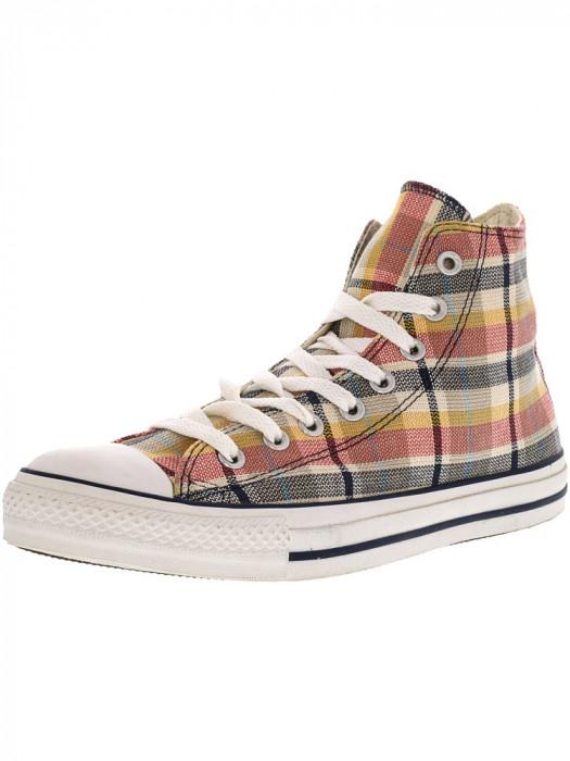 Converse Chuck Taylor Plaid Hi Blue / Yellow High-Top Canvas Fashion Sneaker foto mare