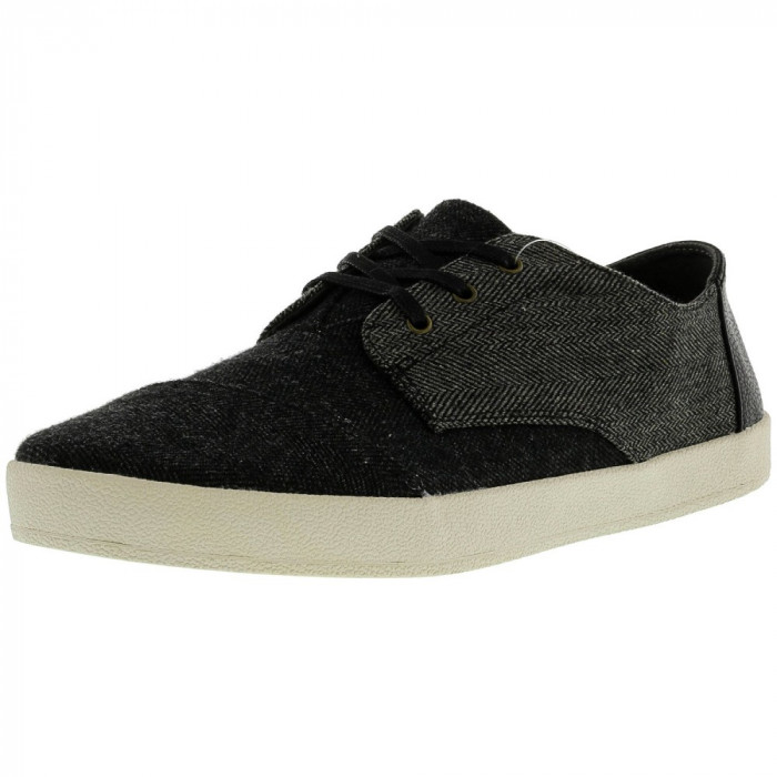 Toms barbati Paseo Herringbone Woolen Black Forged Iron Grey Ankle-High Flat Shoe