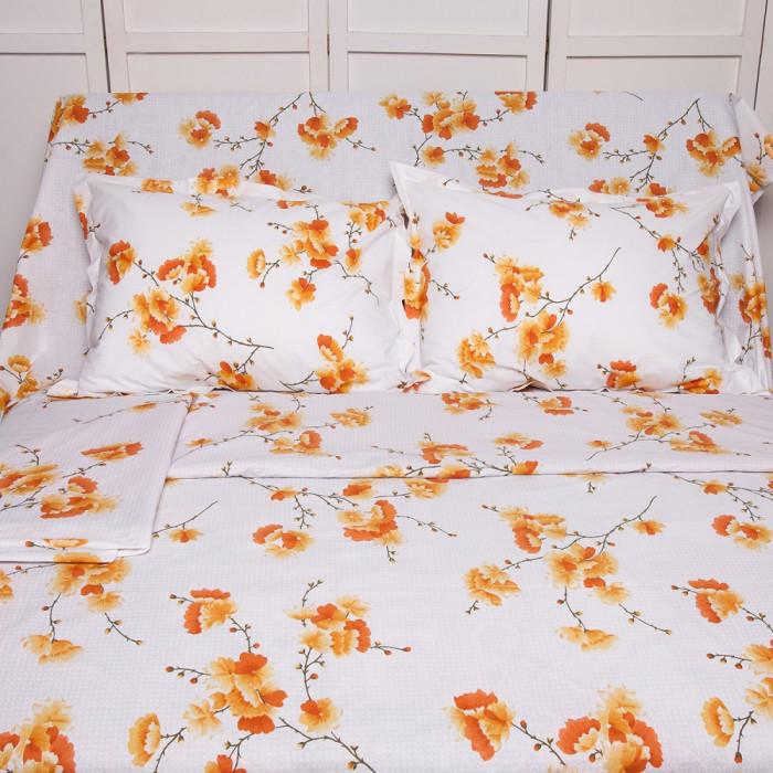 Lenjerie de pat pentru 2 persoane BonDia, Model Ginger, 100% bumbac, 4 piese