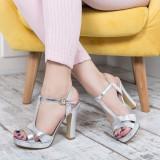 Sandale Sebes argintii cu toc gros