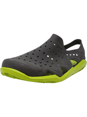 Crocs barbati Swiftwater Wave Graphite / Volt Green Ankle-High Rubber Sandal foto