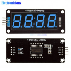 "ecran display lcd 4 digit led 0.56"" 7 segmente blue tm1637 clock arduino"