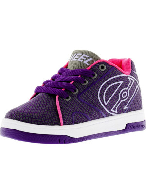 Heelys Propel Knit Grey / Purple Neon Pink Ankle-High Fabric Fashion Sneaker foto