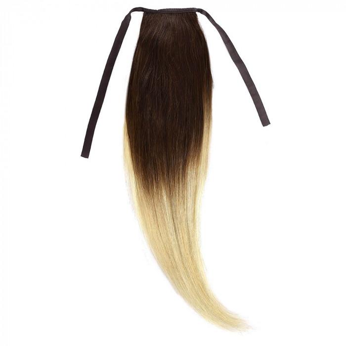 Cozi Par Natural 50cm 100gr Ombre Saten Ciocolatiu-Blond Deschis #T4/60
