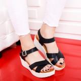 Sandale Sheila negre cu platforma
