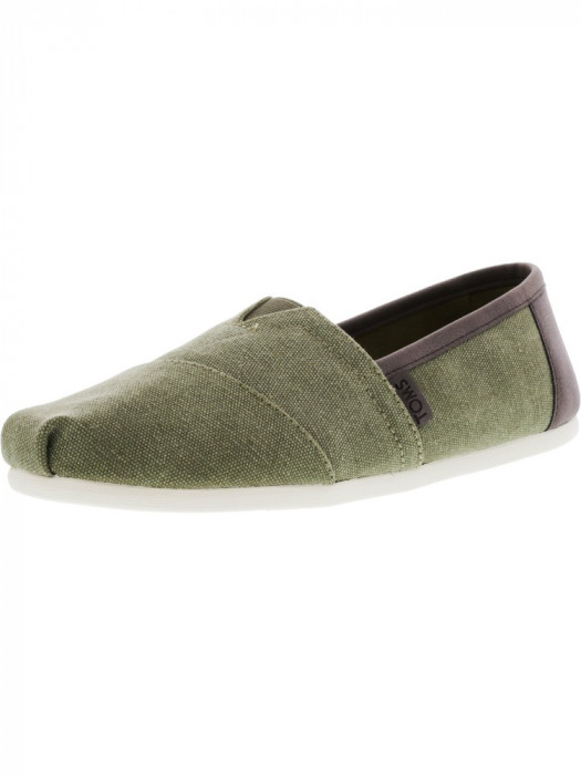 Toms barbati Classic Washed Canvas Olive Trim Ankle-High Slip-On Shoes foto mare