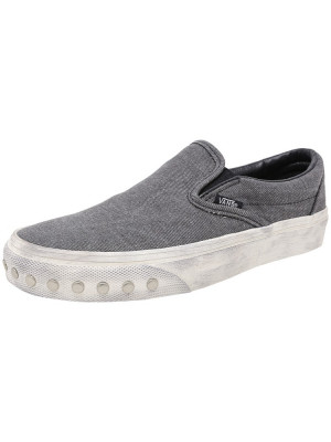 Vans Classic Slip-On Overwashed Blue Graphite Ankle-High Canvas Shoes foto