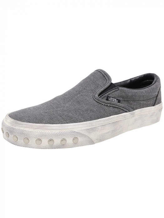 Vans Classic Slip-On Overwashed Blue Graphite Ankle-High Canvas Shoes