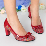 Pantofi Piele Yang rosii cu toc gros