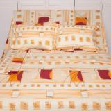 Lenjerie de pat pentru 2 persoane BonDia, Model Raven, 100% bumbac, 4 piese