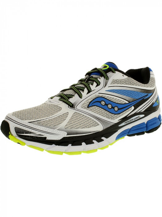Saucony barbati Guide 8 White/Blue/Citron Ankle-High Running Shoe foto mare