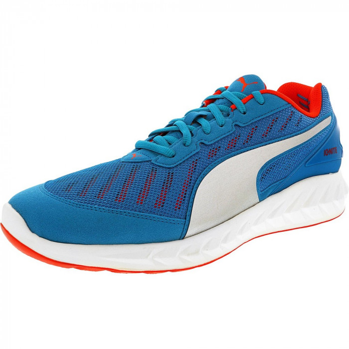 Puma barbati Ignite Ultimate Atomic Blue/Red Blast Ankle-High Mesh Running Shoe foto mare