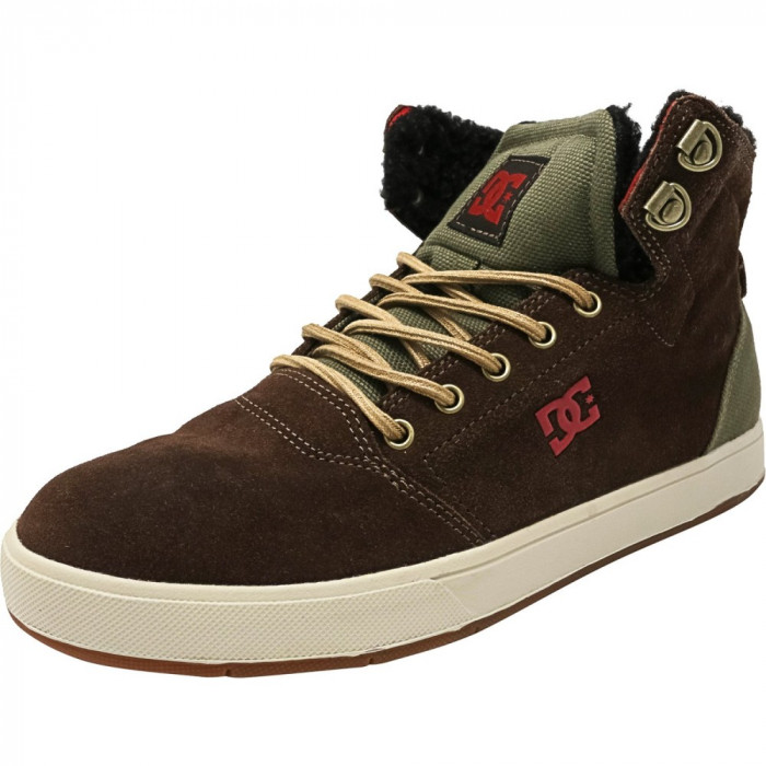 Dc barbati Crisis High Wnt Chocolate / Green Ankle-High Suede Fashion Sneaker foto mare