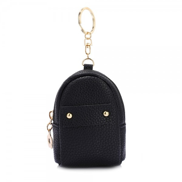 AGP1091 - Black Flap Purse/Wallet With Tassel foto mare