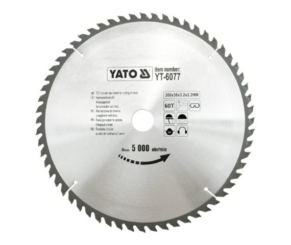 Disc fierastrau wolfram pentru lemn 300 mm x 60T YATO foto mare
