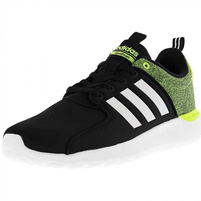 Adidas barbati Cloudfoam Lite Racer Black / White Electricity Ankle-High Fabric Running Shoe foto mare