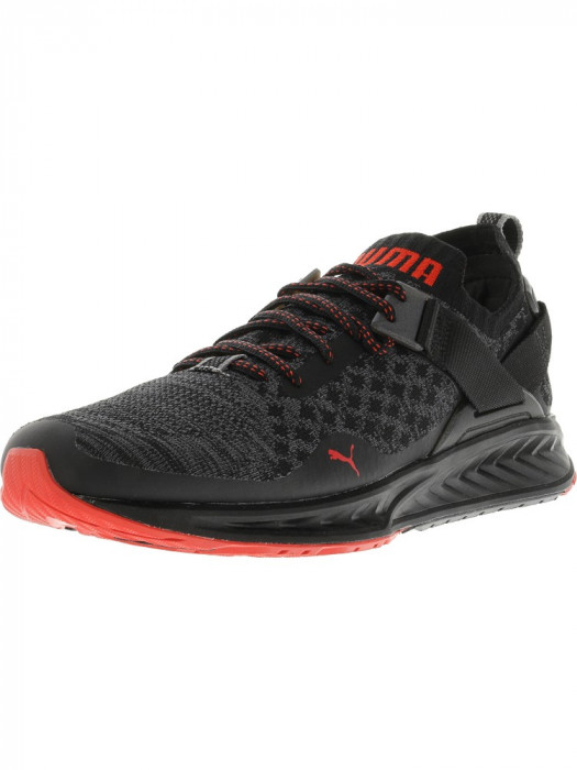 Puma barbati Ignite Evoknit Lo Pavement Black / Asphalt High Risk Red Ankle-High Running Shoe foto mare