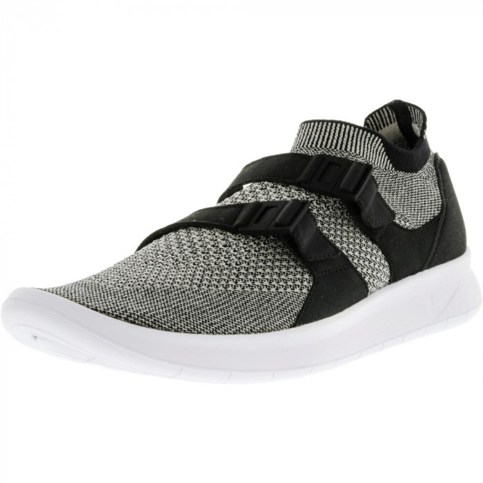 Nike barbati Air Sockracer Flyknit Black / Pale Grey-Black-White Ankle-High Running Shoe foto mare