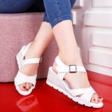 Sandale Piele Badei albe cu platforma