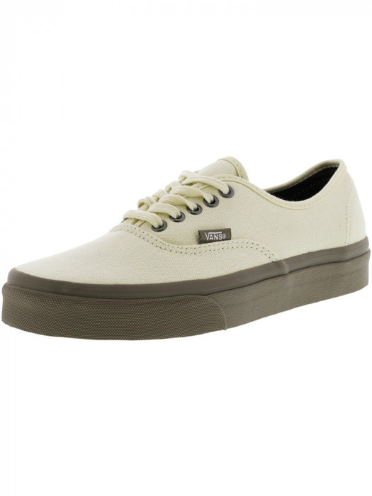 Vans Authentic Canvas And Denim Cream / Walnut Ankle-High Skateboarding Shoe foto mare