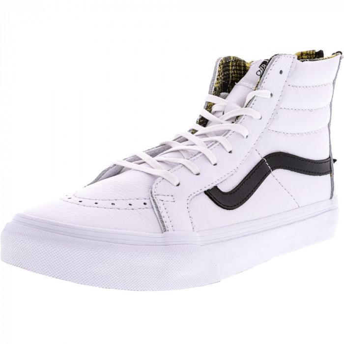 Vans Sk8-Hi Slim Zip Plaid Flannel True White / Black High-Top Leather Skateboarding Shoe