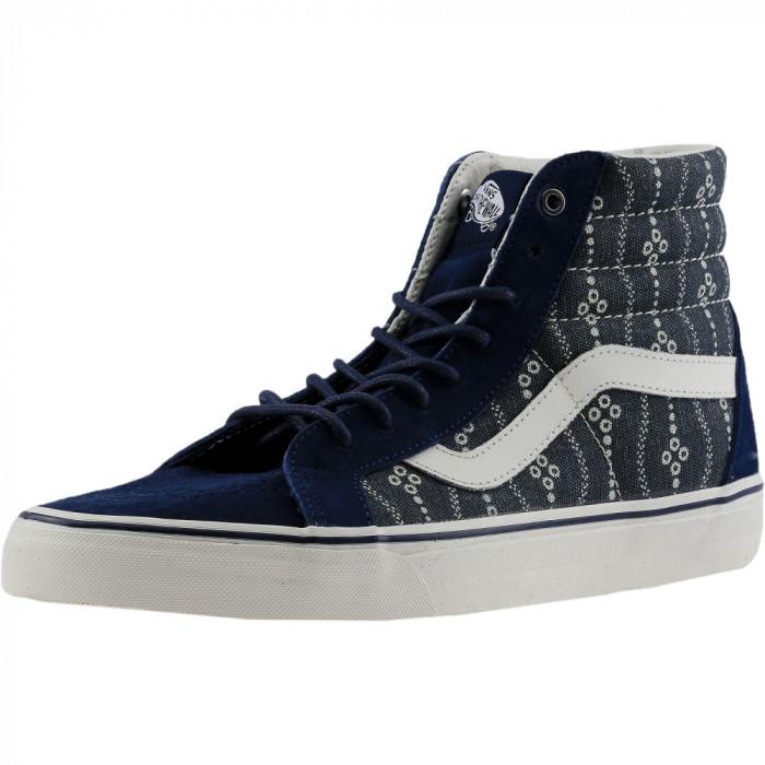 Vans Sk8-Hi Reissue Indigo Mood / Blanc De Ankle-High Fabric Fashion Sneaker