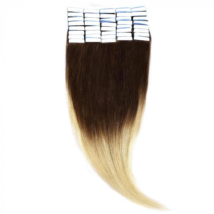Tape-In Par Natural 50cm 40suv 100gr Ombre Saten Ciocolatiu-Blond Deschis #T4/60 foto mare