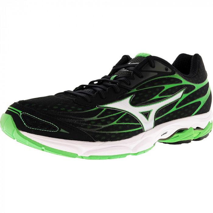 Mizuno barbati Wave Catalyst Black / Silver Green Ankle-High Running Shoe foto mare