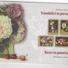 ROMANIA 2013 LP 2007 a TRANDAFIRI IN PICTURA ROMANEASCA ALBUM FILATELIC