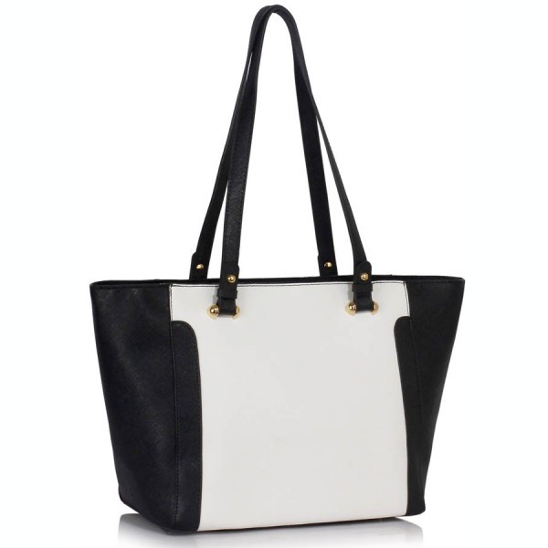 LS00497 - Black /White Grab Shoulder Handbag