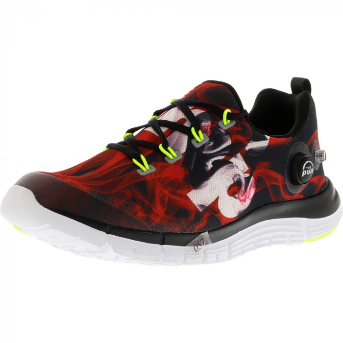 Reebok barbati Z Pump Fusion Flame Black / Red White Yellow Ankle-High Fabric Running Shoe foto mare