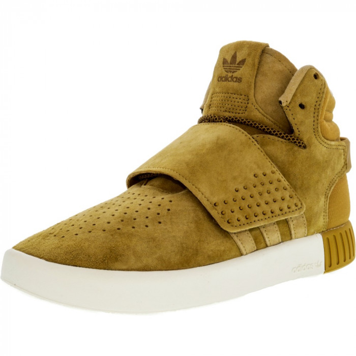 Adidas Boys Tubular Invader Strap Mesa / Original White High-Top Suede Basketball Shoe foto mare