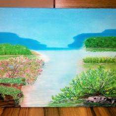Tablou pictat în ulei pe panza / dimensiuni 46x38 cm, Peisaje, Altul