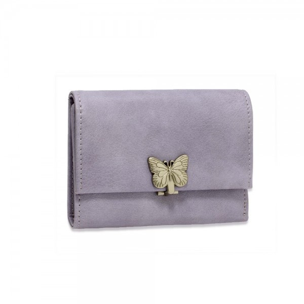 AGP1103 - Purple Flap Metal Butterfly Design Purse / Wallet foto mare