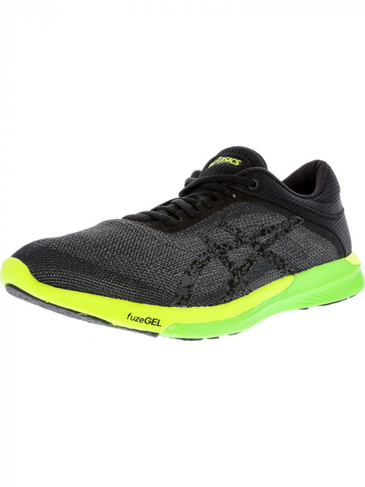 Asics barbati Fuzex Rush Carbon / Black Safety Yellow Ankle-High Running Shoe