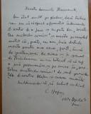 Scrisoare olografa Calistrat Hogas catre Generalul Diamandi , 1914