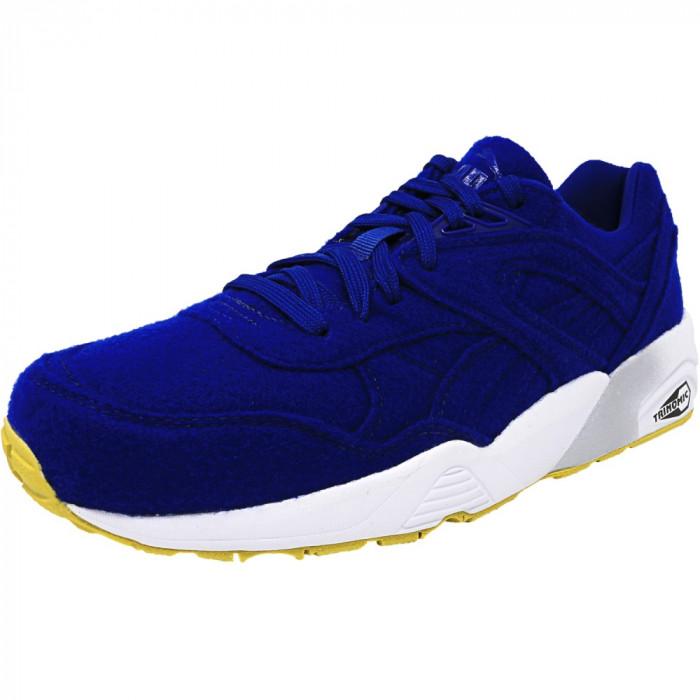 Puma barbati R698 Bright Royal Blue Ankle-High Fabric Fashion Sneaker foto mare
