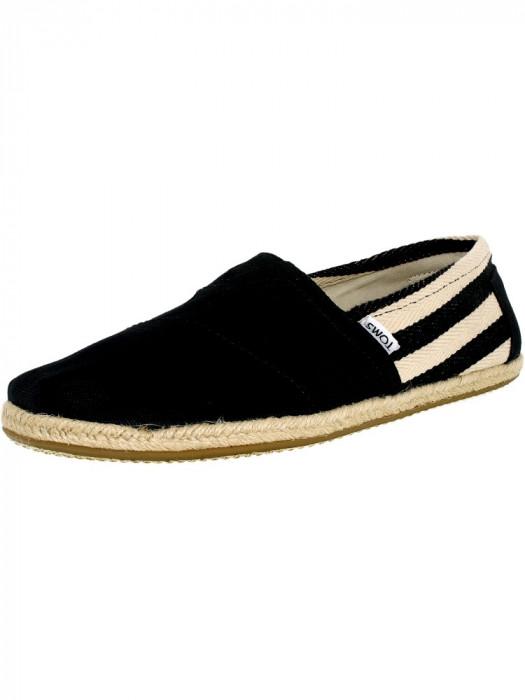 Toms barbati Classic Canvas Stripe Black University Ankle-High Flat Shoe foto mare