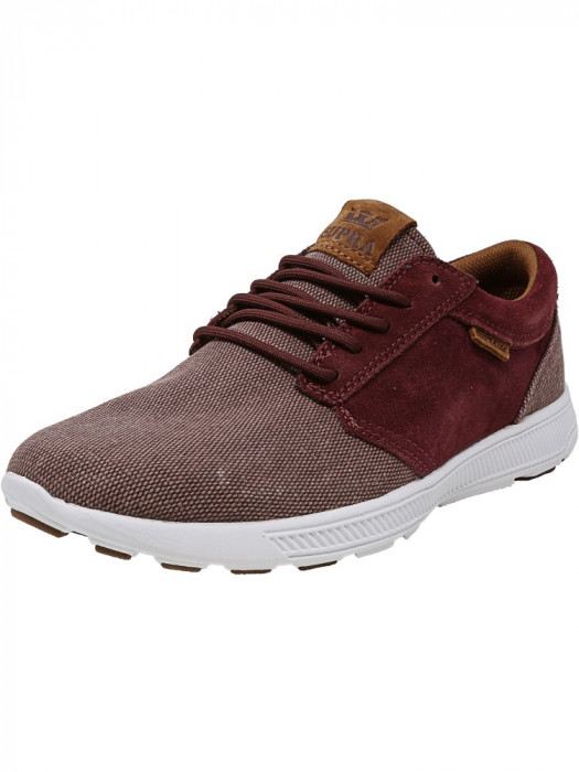 Supra barbati Hammer Run Nonstretch Burgundy / Brown-White Ankle-High Canvas Skateboarding Shoe foto mare